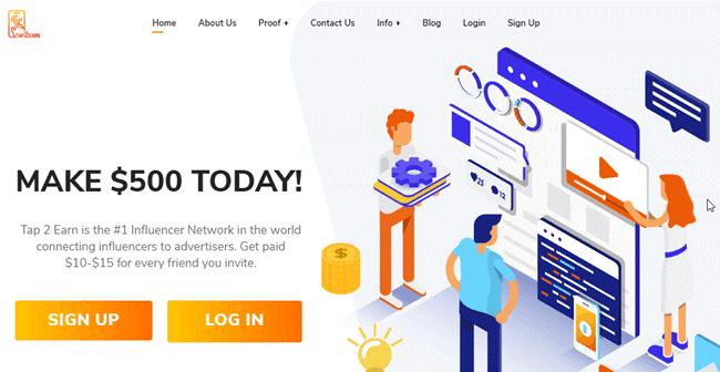 Tap2Earn avis – Arnaque ou opportunité pour gagner 500$ sur internet ?