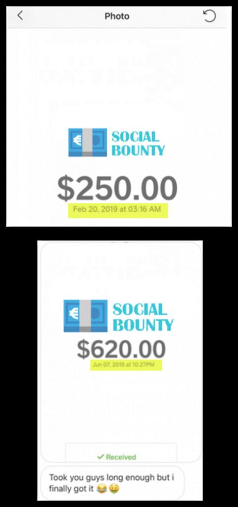 social bounty Preuve de paiement