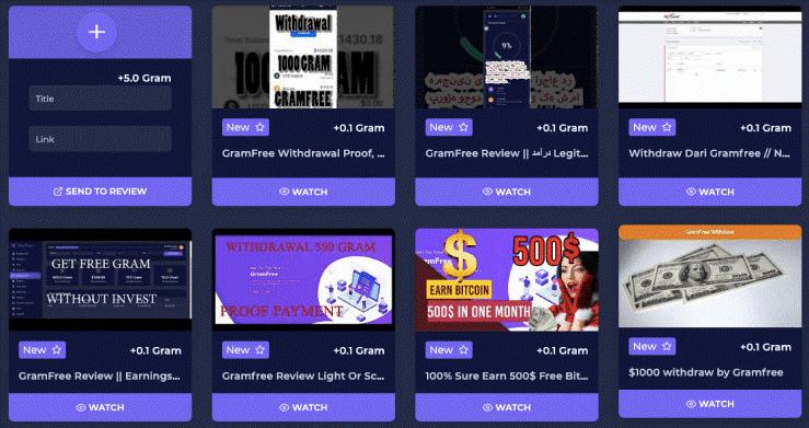 Certaines des vidéos que vous pouvez voir sur GramFree.